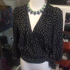Madewell 100% silk star wrap blouse